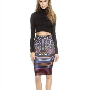 Clover canyon stained glass fitted skirt